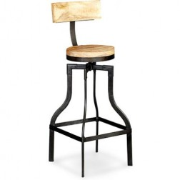 Kawa vintage industrial style wood and metal stool